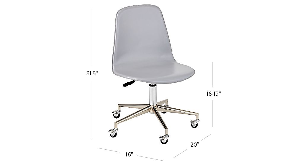 Tap To Zoom Image With Dimension For Kids Class Act Light Grey Silver Desk Chair