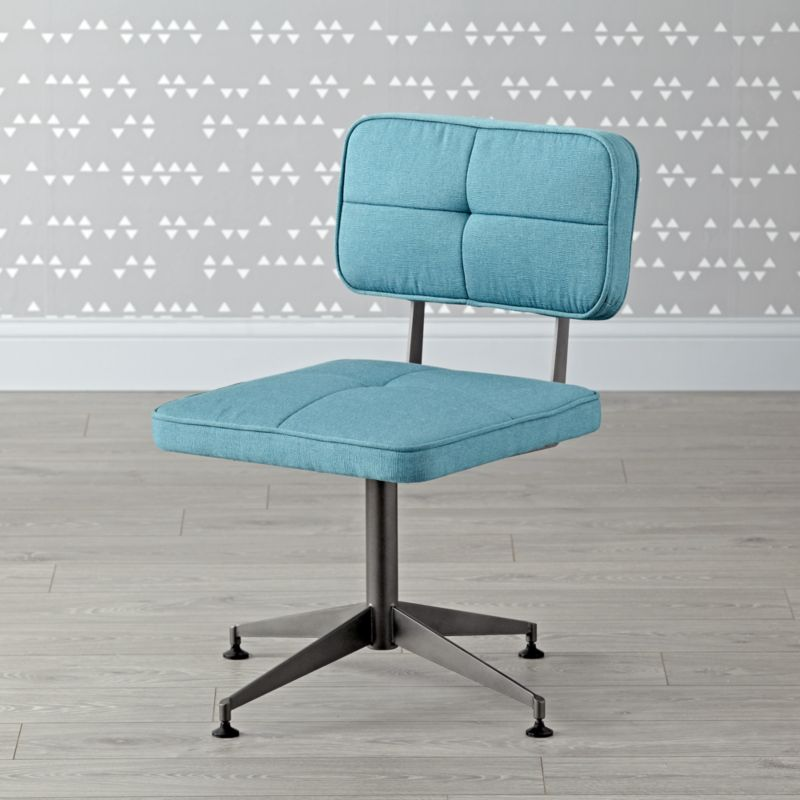 Aqua Tufted Desk Chair Reviews Crate And Barrel