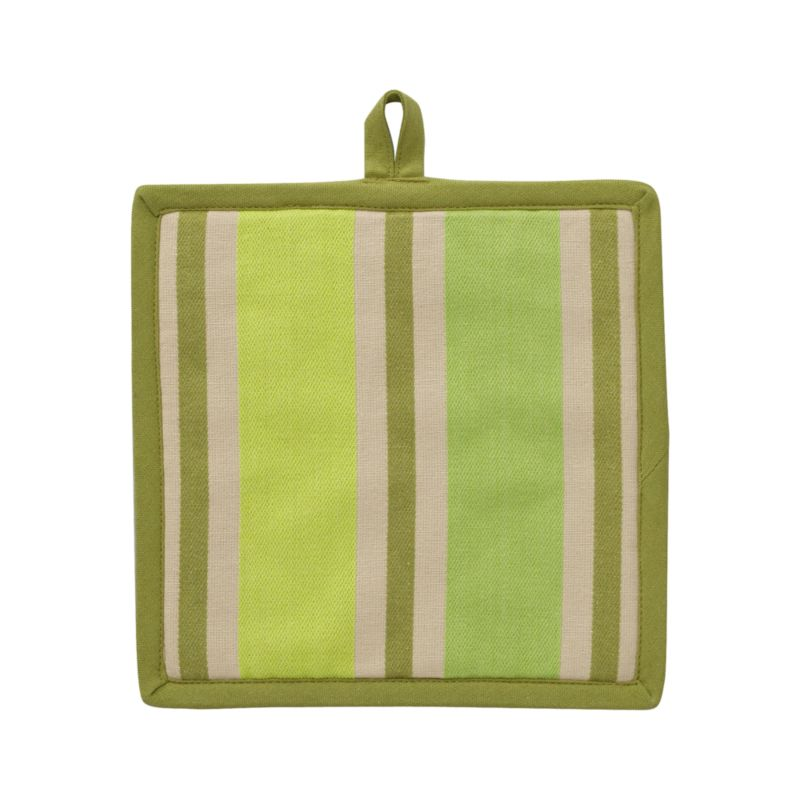 Refresh the kitchen in tonal green and neutral multistripes. Cotton potholder is finished with green trim and hanging loop. Potholder has terry backing.<br /><br /><NEWTAG/><ul><li>100% cotton</li><li>100% polyester fill</li><li>Machine wash</li></ul>