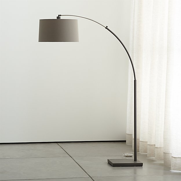 Dexter Arc Floor Lamp with Grey Shade | Crate and Barrel