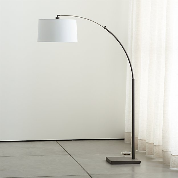 Dexter arc floor lamp with white shade reviews crate and barrel dexterfloorlampwwhiteshadeoffshf15 mozeypictures Images