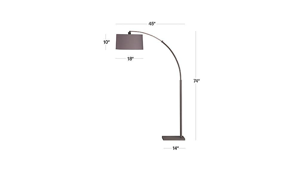 Dexter arc floor lamp with grey shade in floor lamps for Dexter arc floor lamp with white shade