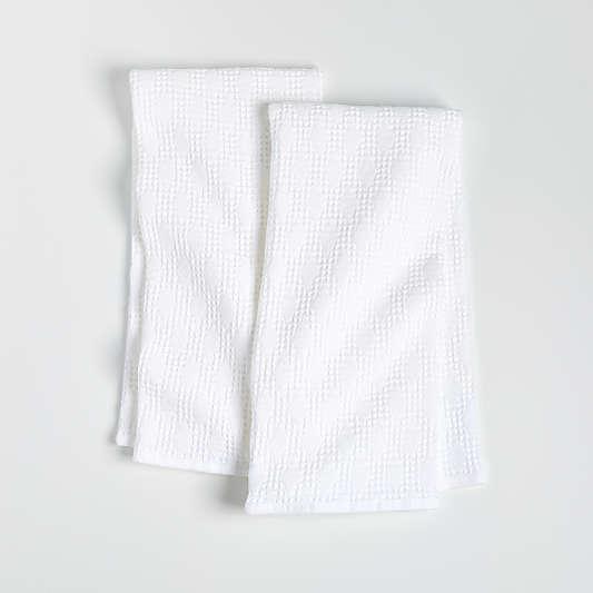 Diamond Pique White Dish Towels, Set of 2