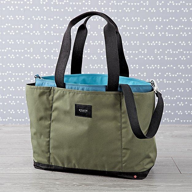 c94b4e275afd74 State Wellington Green Diaper Bag + Reviews | Crate and Barrel