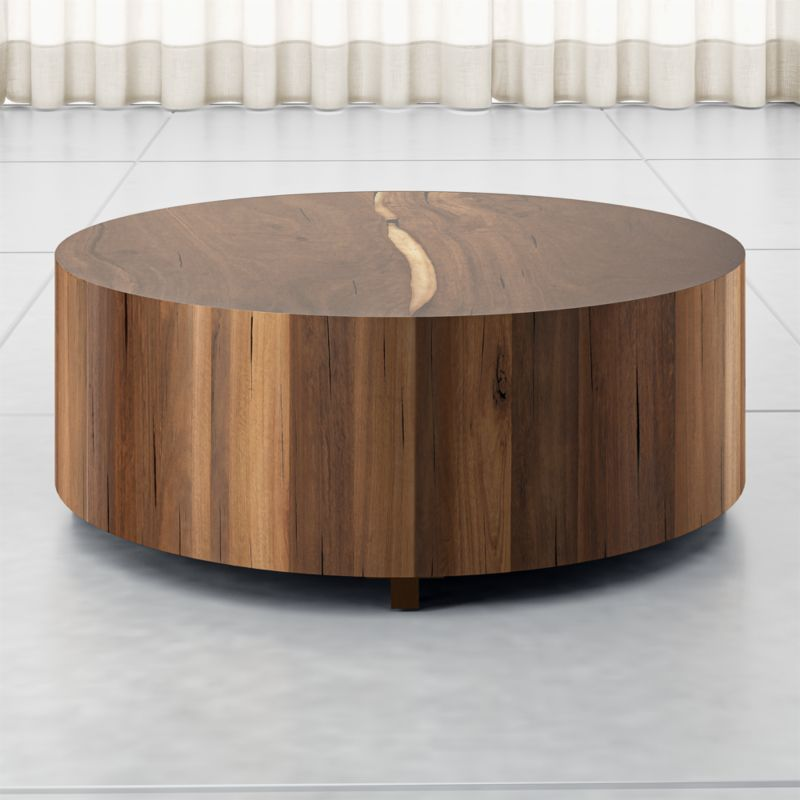 Dillon Natural Yukas Round Wood Coffee Table Crate And Barrel