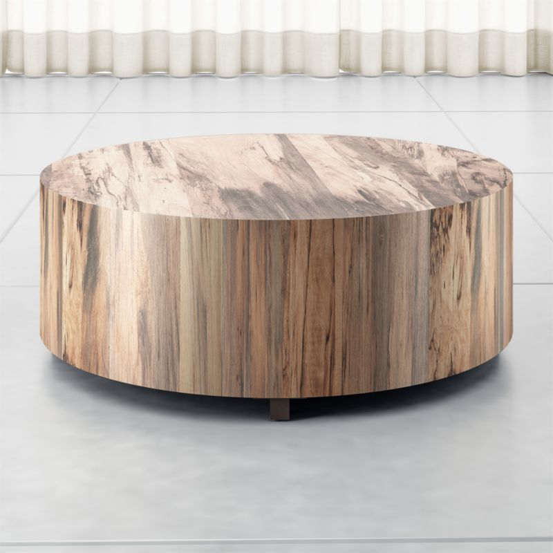 Round Wood Coffee Table.Dillon Spalted Primavera Round Wood Coffee Table
