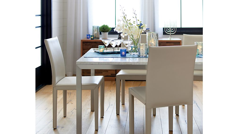 Parsons White Marble Top/ Stainless Steel Base 48x28 Dining Table