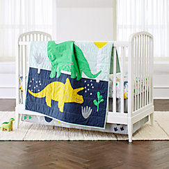 Blue And Green Mod Dinosaur 9 Piece Baby Boy Or Girl Bedding Crib Set