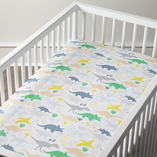 Organic Dinosaur Crib Fitted Sheet Crate And Barrel