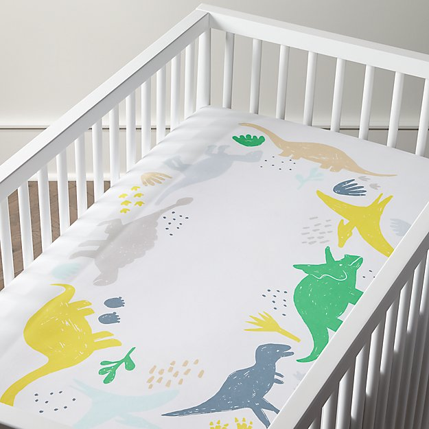 Organic Dinosaur Wreath Crib Fitted Sheet + Reviews ...