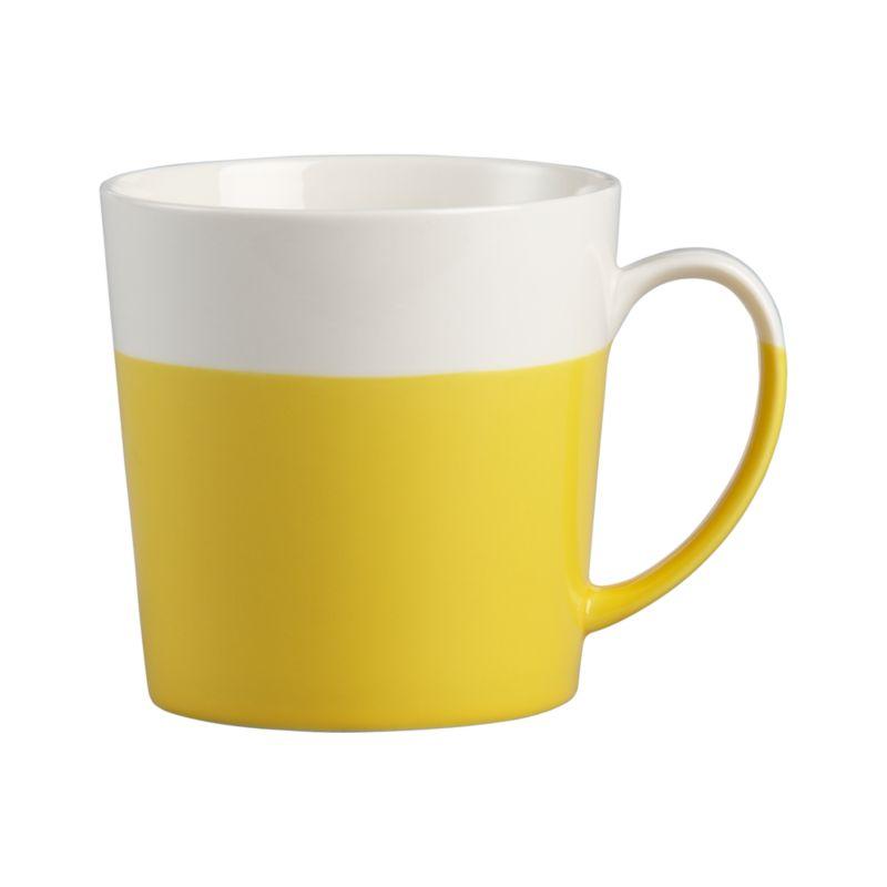 Fine bone china mug is dipped in a bright glaze to get the layered look on both mug and handle.<br /><br /><NEWTAG/><ul><li>New bone china</li><li>Dishwasher- and microwave-safe</li></ul>