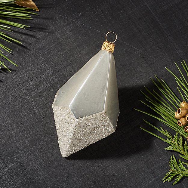 Silver Dipped Glitter Drop Ornament
