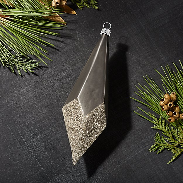 Large Slate Dipped Glitter Drop Ornament