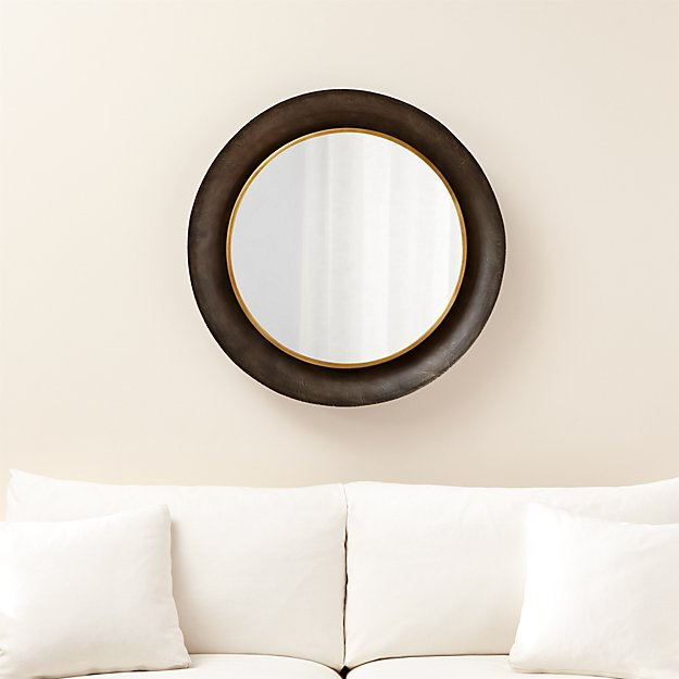 Bathroom Mirrors Crate And Barrel dish round wall mirror | crate and barrel
