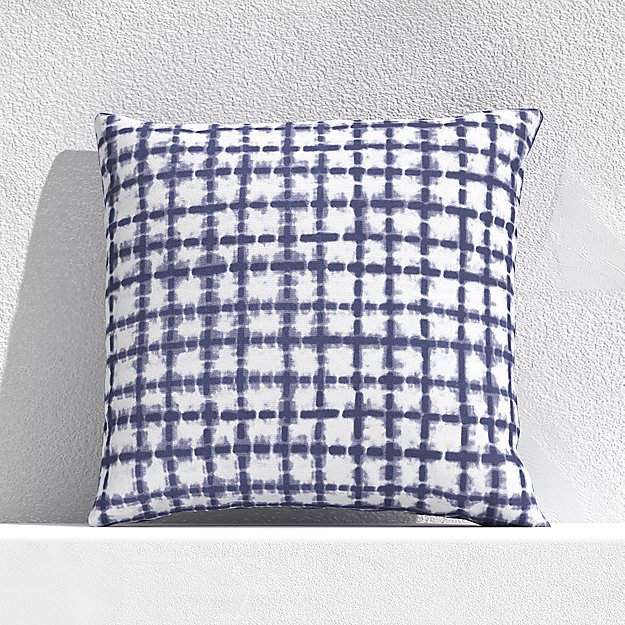 "Distressed Indigo Checks 20"" Outdoor Pillow - Image 1 of 3"