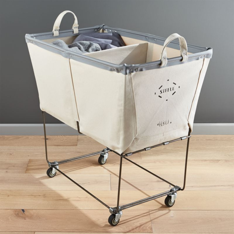 Steele divided canvas sorter crate and barrel - Divided laundry hampers ...