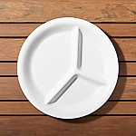 Divided White Melamine Plate