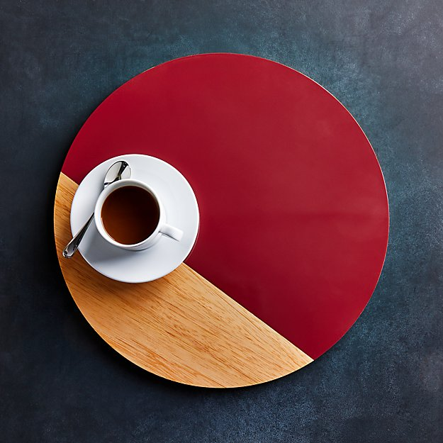 Division Round Wood Chili Placemat - Image 1 of 4