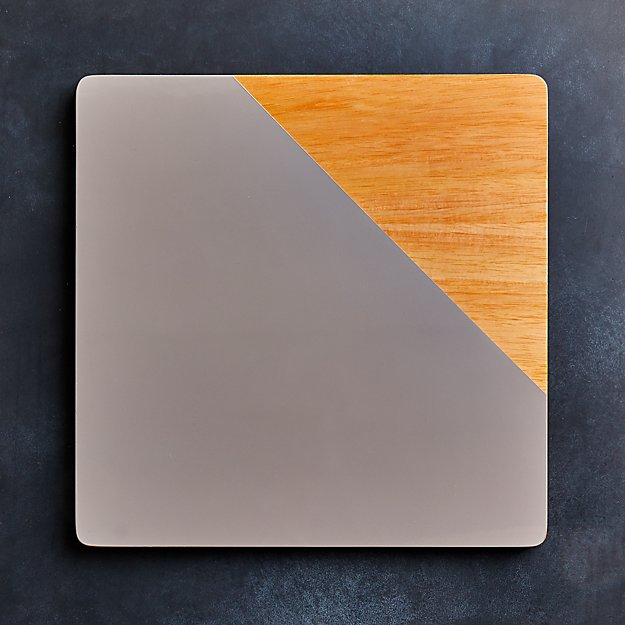 Division Square Wood Grey Placemat - Image 1 of 4