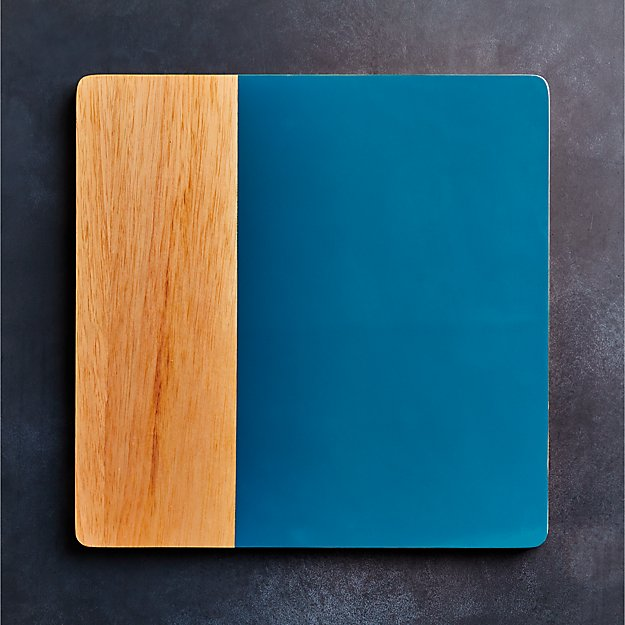 Division Square Wood Teal Placemat - Image 1 of 5