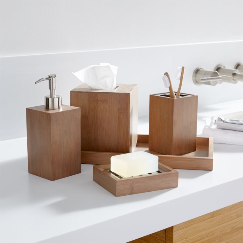 Dixon bamboo bath accessories crate and barrel for Looking for bathroom accessories