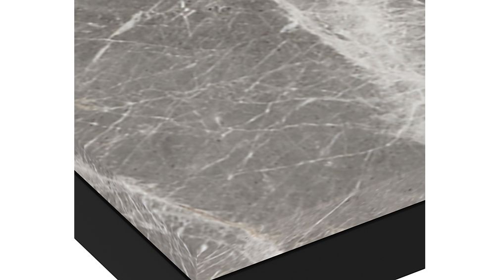 Parsons Grey Marble Top/ Dark Steel Base 48x28 Dining Table