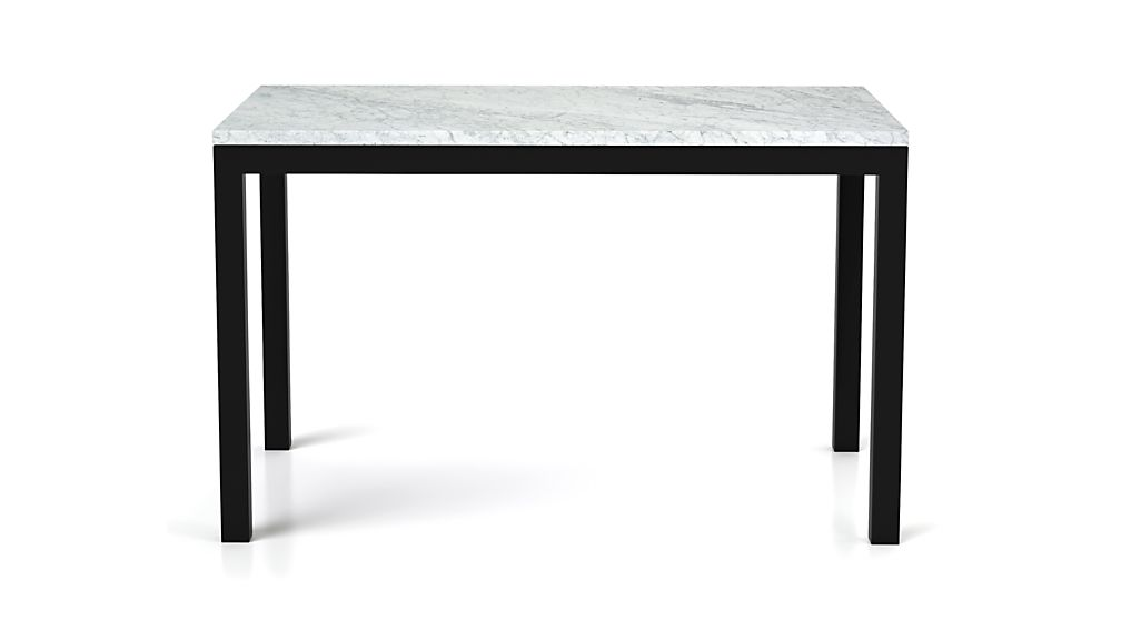 Parsons White Marble Top/ Dark Steel Base 48x28 Dining Table