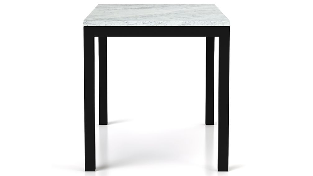 Parsons White Marble Top/ Dark Steel Base 48x28 High Dining Table