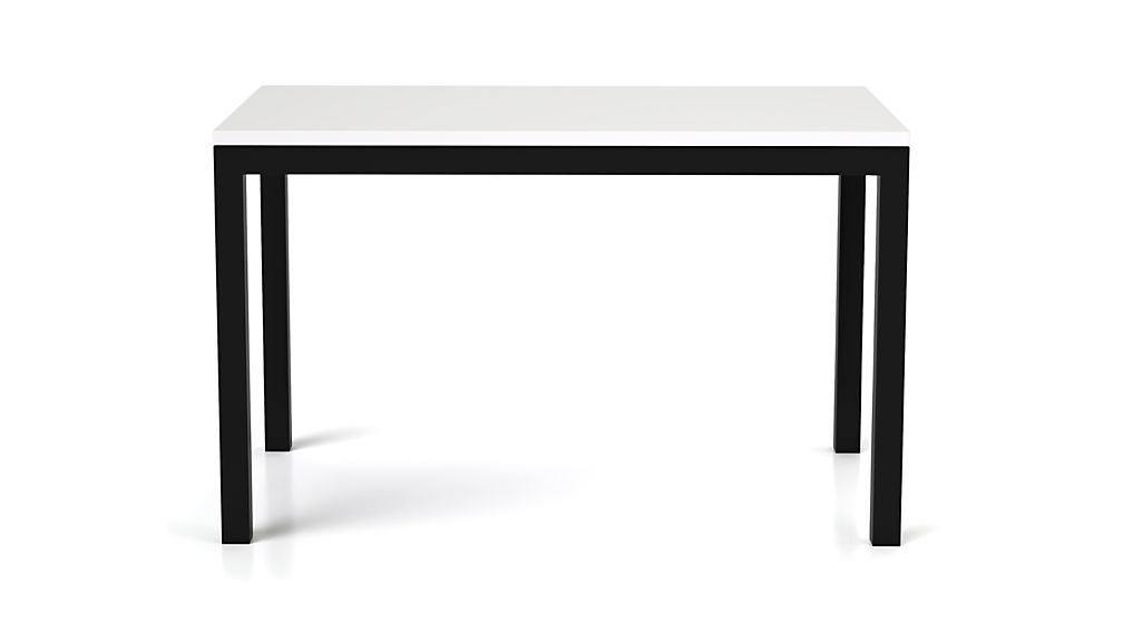 Parsons White Top/ Dark Steel Base 48x28 Dining Table