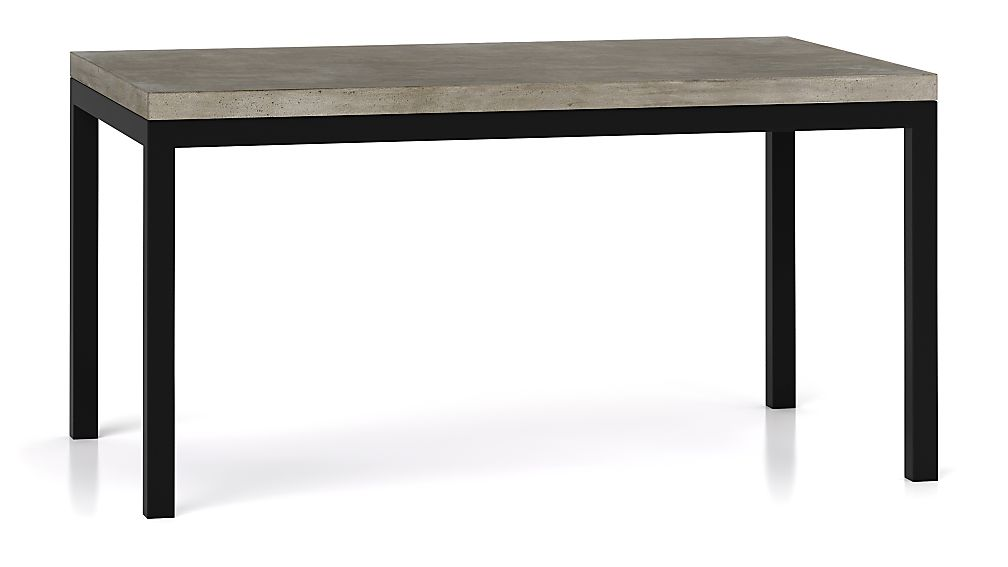 Parsons Concrete Top Dark Steel Base 60x36 Dining Table Reviews Crate And Barrel