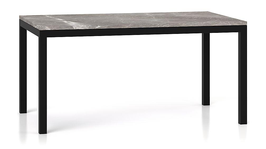 Parsons Grey Marble Top/ Dark Steel Base 60x36 Dining Table