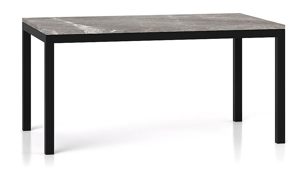 Parsons Grey Marble Top/ Dark Steel Base 60x36 Dining Table - Image 1 of 5