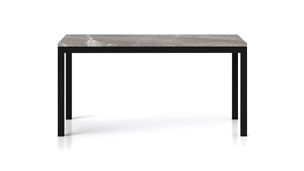 Parsons Grey Marble Top/ Dark Steel Base 48x28 High Dining Table