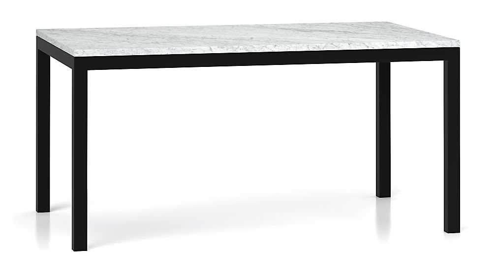 Parsons White Marble Top Dark Steel Base 60x36 Dining Table Reviews Crate And Barrel
