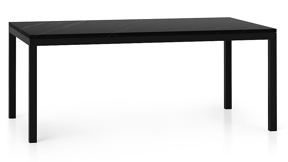 Parsons Black Marble Top Dark Steel Base X Dining Table - Square parsons dining table