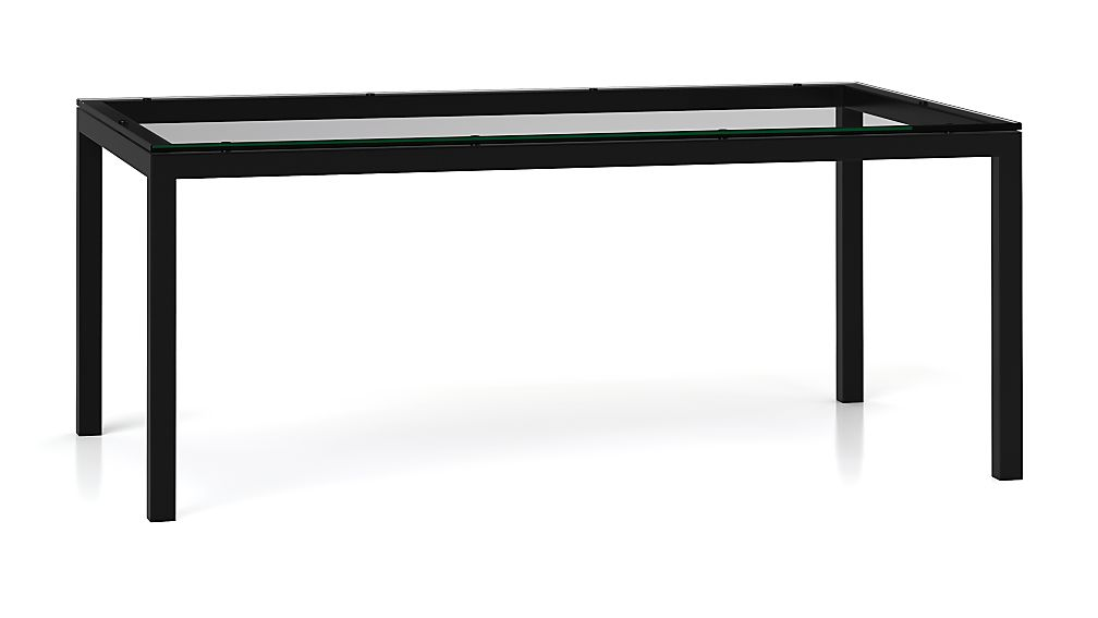 Parsons Clear Glass Top/ Dark Steel Base 72x42 Dining Table