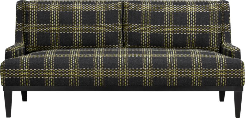 Refined retro plaid adds graphic punch and nubby texture to clean contemporary sofa. Slim-lined frame makes the most of scaled-up and tweedy plaid. Plush tight seat and back cushions nestled between low-profile track arms provides cushy and spacious seating.<br /><br />After you place your order, we will send a fabric swatch via next day air for your final approval. We will contact you to verify both your receipt and approval of the fabric swatch before finalizing your order.<br /><br /><NEWTAG/><ul><li>Eco-friendly construction</li><li>Certified sustainable, kiln-dried hardwood frame</li><li>Back and seat cushions are soy-based polyfoam with feather-down blend encased in downproof ticking</li><li>Sinuous wire spring suspension</li><li>Upholstery fabric is acrylic-cotton blend</li><li>Hardwood legs</li><li>Benchmade</li></ul>
