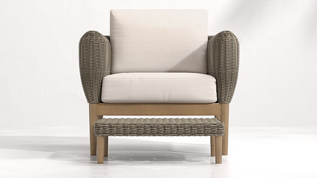 Doren Outdoor Wicker Lounge Chair and Ottoman - Image 1 of 7