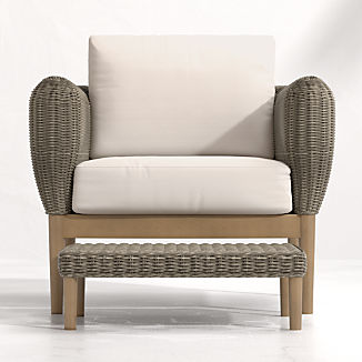 Doren Outdoor Wicker Lounge Chair and Ottoman