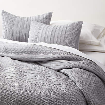 Doret Grey Jersey Quilts And Pillow, Crate And Barrel Bedding Reviews