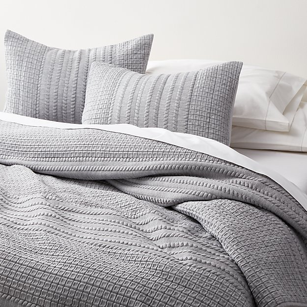 Doret Grey Jersey Quilts and Pillow Shams - Image 1 of 8