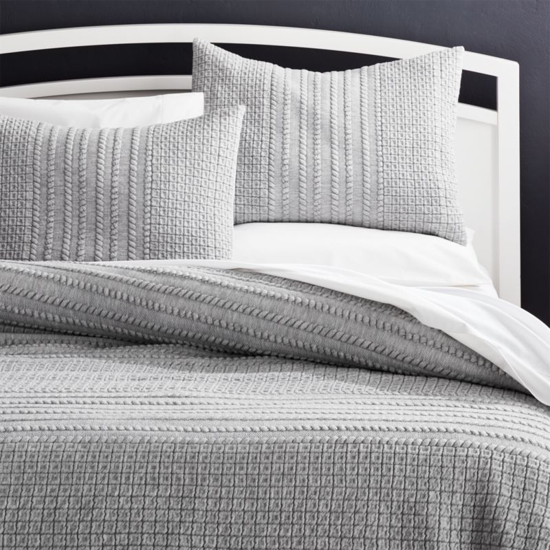 Doret Grey Jersey Quilt Full/Queen by Crate&Barrel