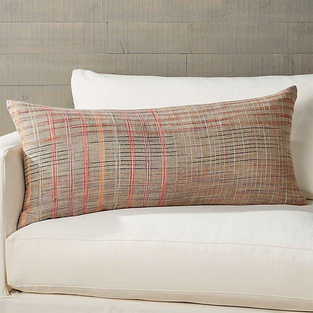 Doshi Plaid Lumbar Pillow 36 Quot X16 Quot Reviews Crate And Barrel