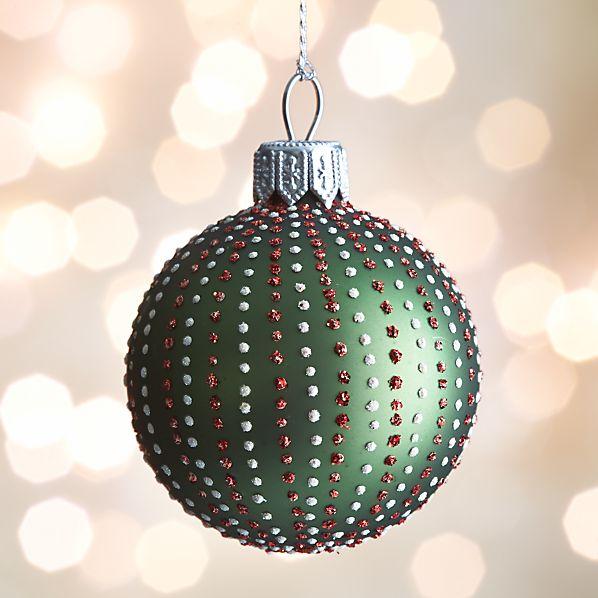 Green Dot Stripe Ball Ornament