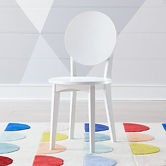Double Dot White Kids Desk Chair
