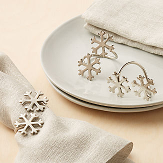 Double Silver Snowflake Napkin Ring