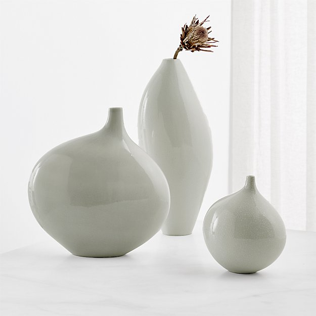 Dove Grey Vases Set Of 3 Reviews Crate And Barrel
