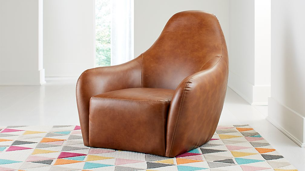 Drake Kids Leather Lounge Chair - Image 1 of 6
