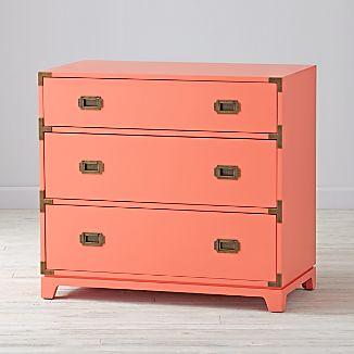 coral furniture. Kids Campaign 3-Drawer Dresser (Coral) Coral Furniture A