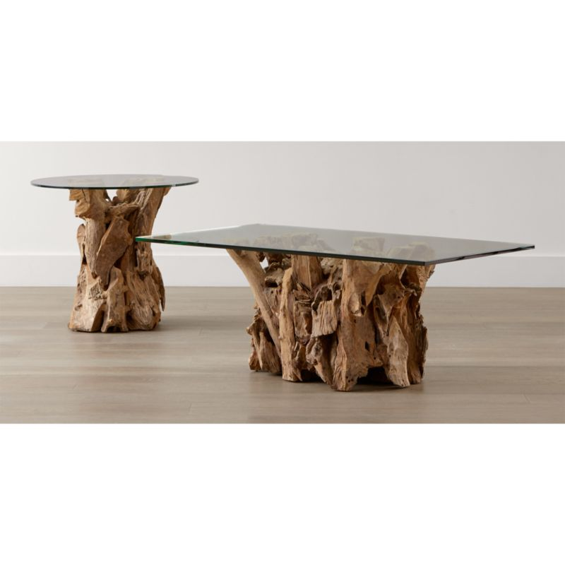 Driftwood End Table with Round Glass Top Reviews Crate and Barrel